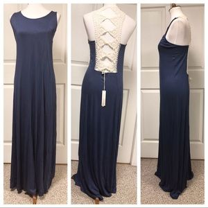 Love Stitch Crochet Sleeveless Maxi Dress M NWT